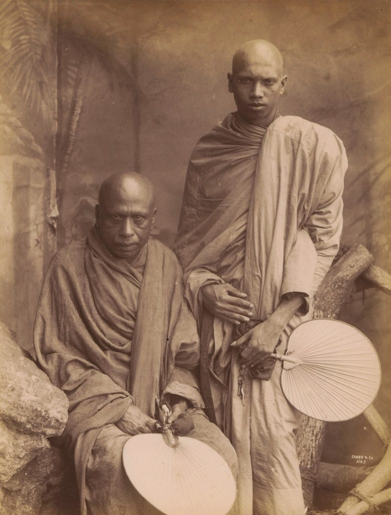 Sepia photograph of two Sinhalese Buddhist monks