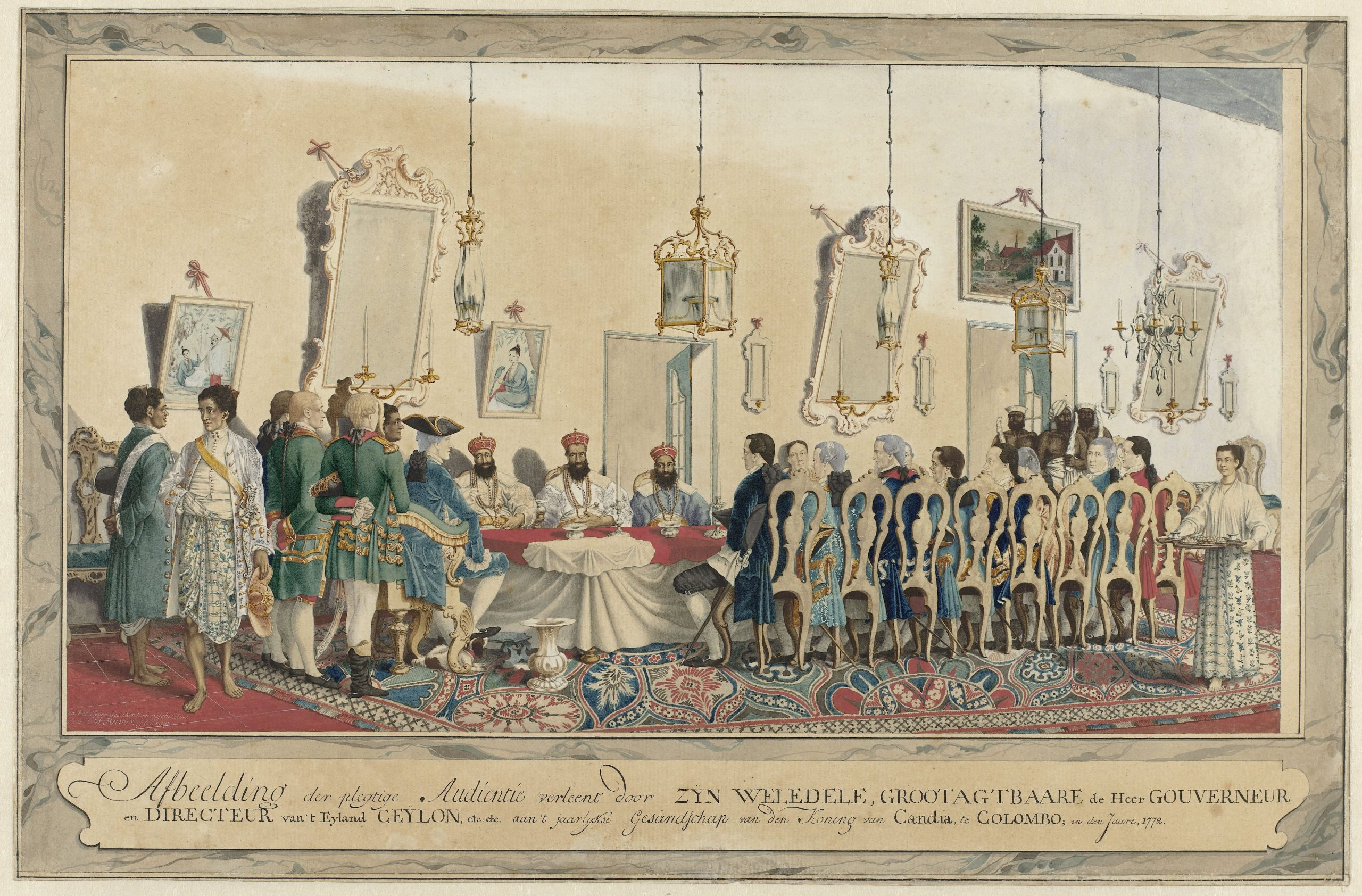 Painting of a 1772 reception of Kandyan envoys to the Dutch VOC fort